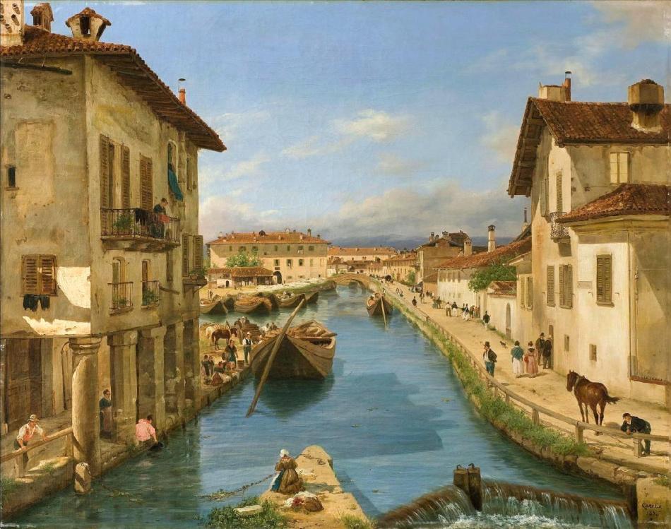 MORANDI - Canella Giuseppe - Veduta del canale Naviglio preso sul ponte di S. Marco in Milano
