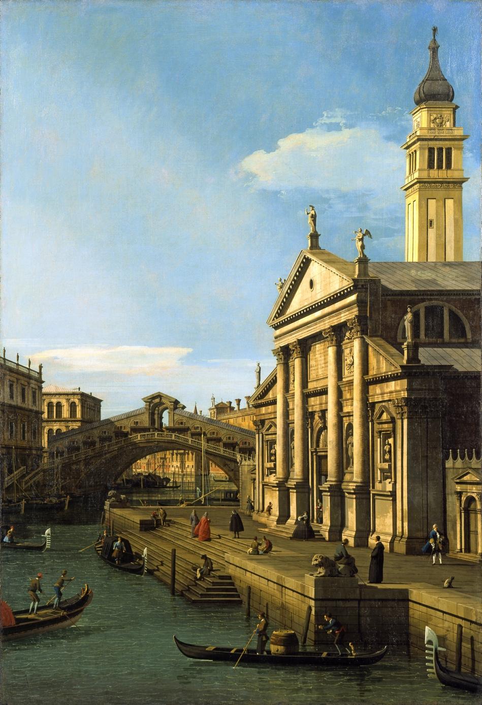 Canaletto, Capriccio, The Rialto Bridge and the Church of S