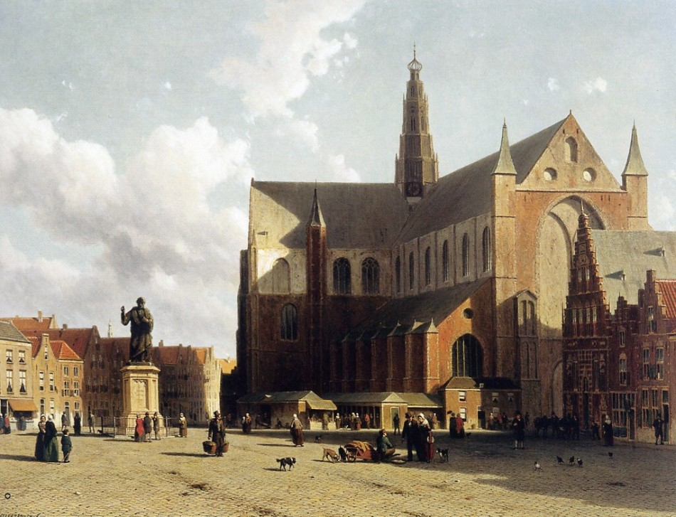 Weissenbruch-Johannes-Jan-View-on-the-market-of-Haarlem-Sun