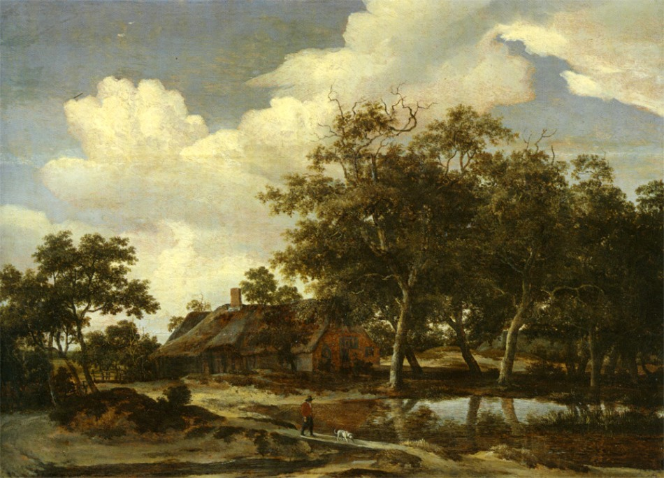 Hobbema_Meindert_A_Wooden_Landscape_wirb_a_Figure_crossing_over_a_stream_oil_Panel-large