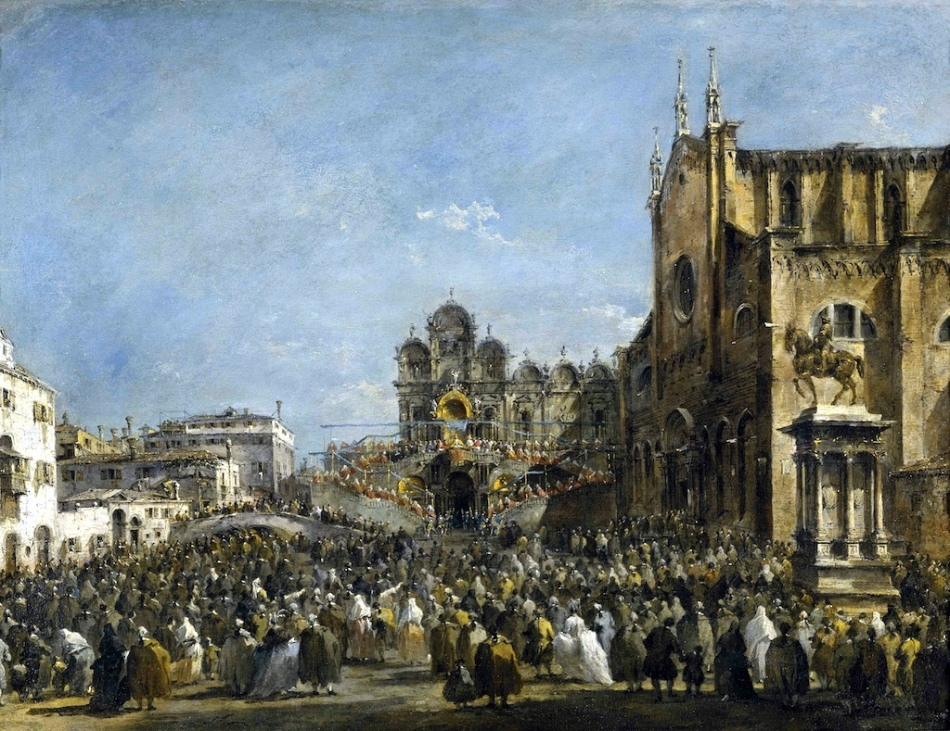 POPE PIUS VI BLESSING THE PEOPLE OF VENICE by Francesco Guardi at Upton House, Warwickshire