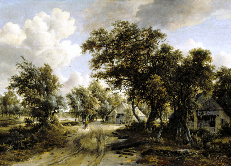 COTTAGE BESIDE A TRACK THROUGH A WOOD by Meindert Hobbema (1638-1709) from Ascott, Buckinghamshire.