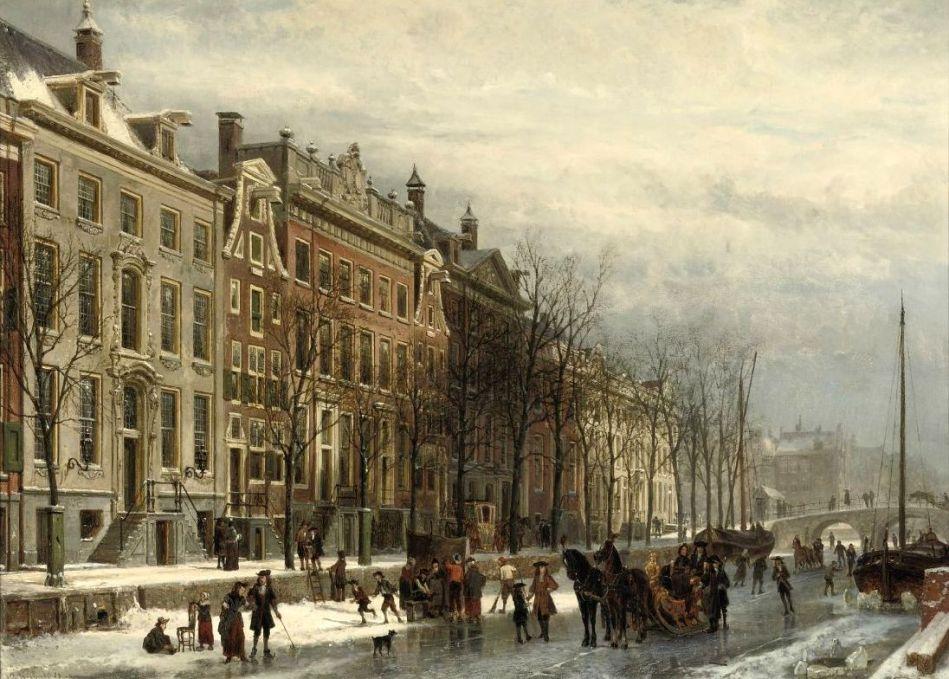 1Cornelis Springer (Dutch 1817-1891) Gezicht op de Heerengracht bij den Amstel in het einder der 17de Eeuw_Amsterdam in winter 1883. Oil on panel.46.5 x 64.5 cm