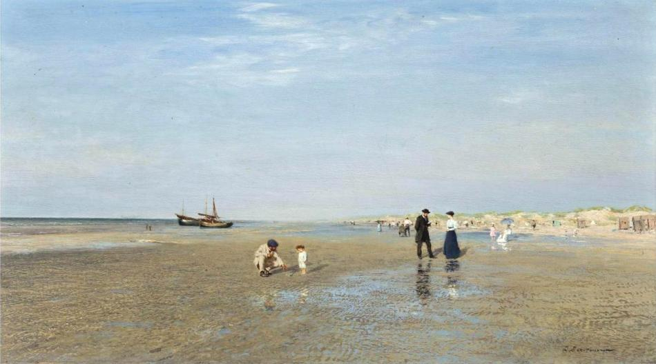 1Ivan Pokhitonov (1850-1923)  .Sur la plage . Oil on panel. 18.9 x 32.6 cm