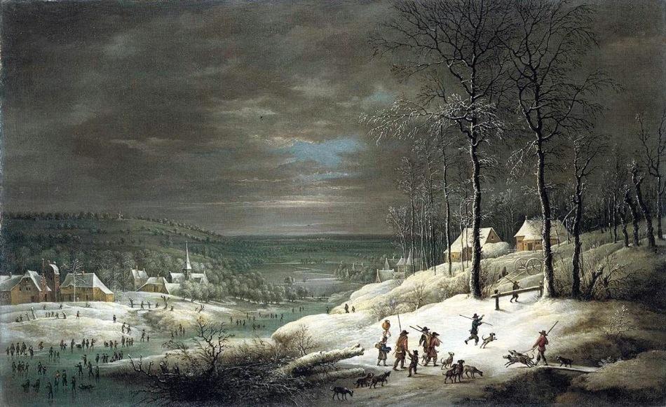 0 Lucas van Uden, paisaje invernal con cazadores, flamenco, col privada