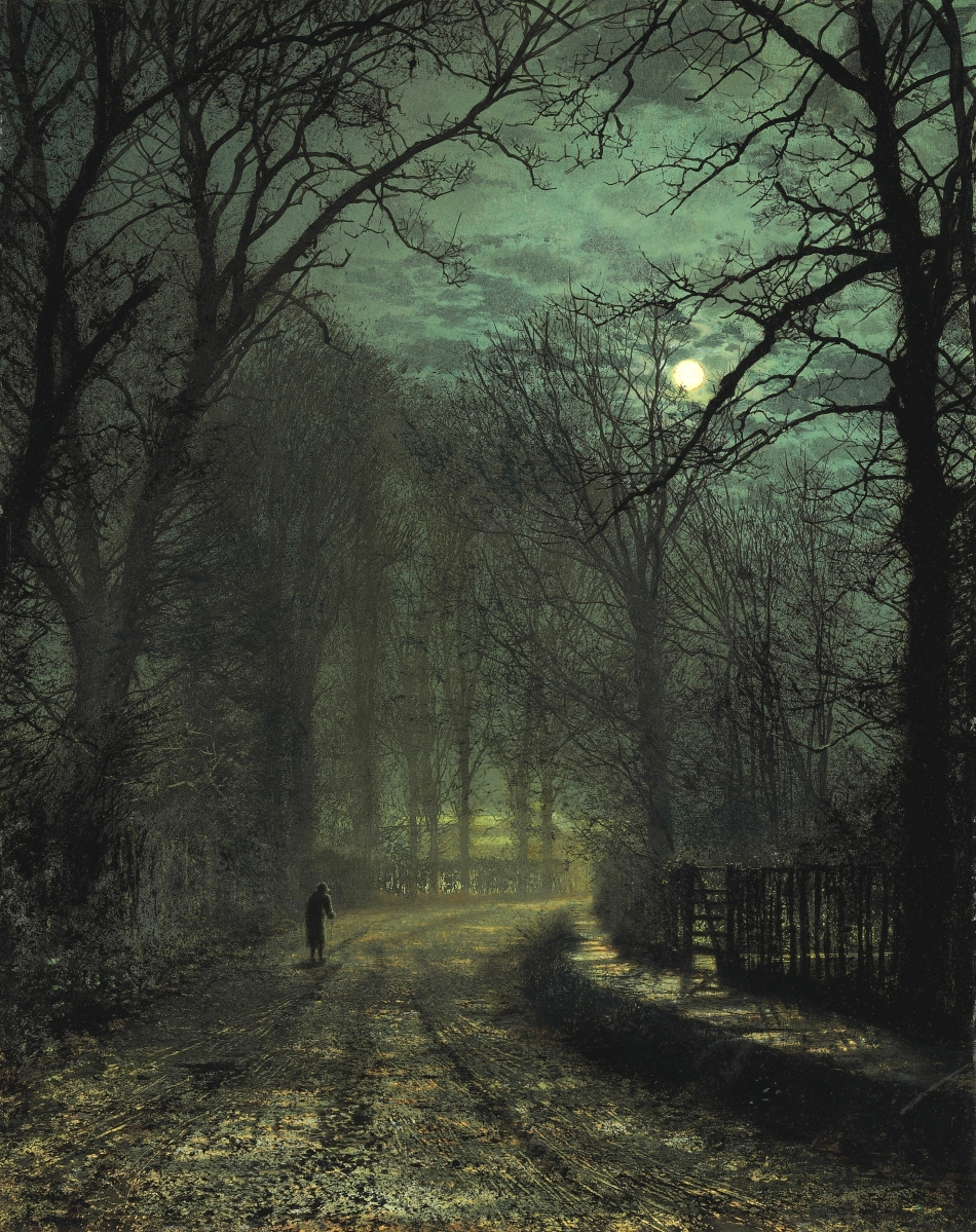 John-Atkinson-Grimshaw-Paintings-A-Yorkshire-Lane-in-November-1873