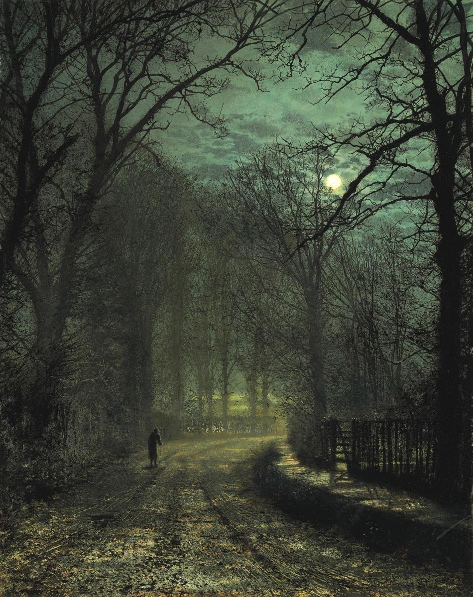 John-Atkinson-Grimshaw-Paintings-A-Yorkshire-Lane-in-November-1873