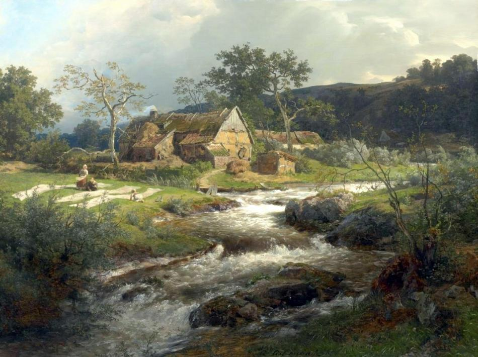 Andreas_Achenbach_-_Landschaft_mit_Bauernhaus_und_Wildbach