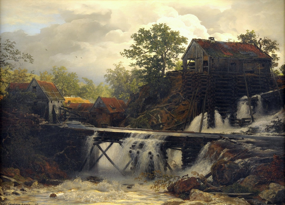 Andreas_Achenbach_Mühle_im_Walde_an_einem_stürzenden_Bergwasser_1868