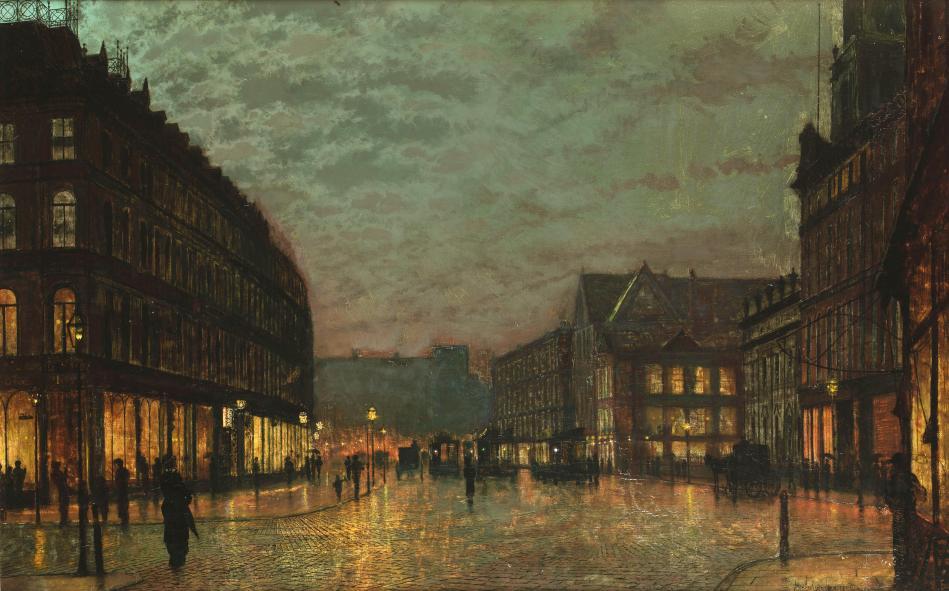 John_Atkinson_Grimshaw_Boar_Lane_Leeds_by_lamplight_1881
