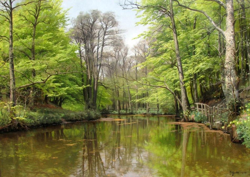 PEDER MORK MONSTED - Um lago tranquilo na floresta - Óleo sobre tela - 82,5 x 117,4 - 1904