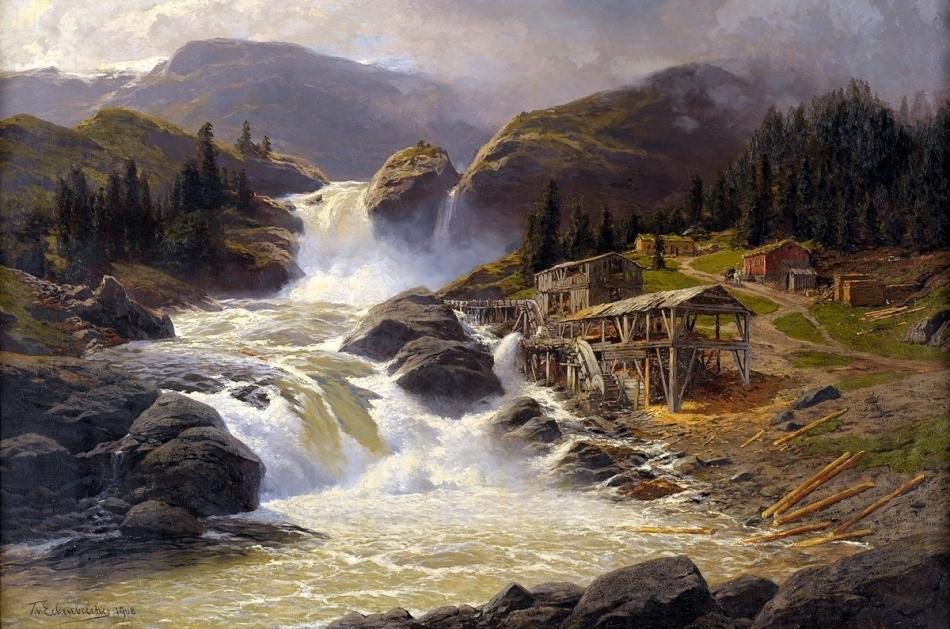Themistokles_Eckenbrecher_Norwegischer_Wasserfall_mit_Sägemühle_1908