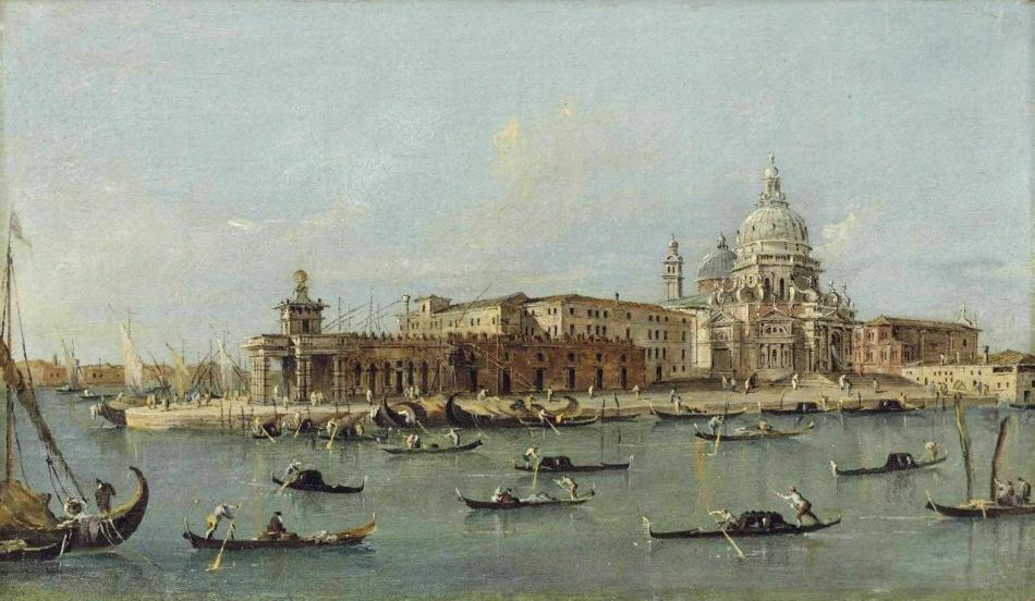 _Francesco Guardi (Venice 1712-1793). The Dogana and Santa Maria della Salute, Venice, from the Riva del Grano. Oil on panel . 18 x 30.7 cm