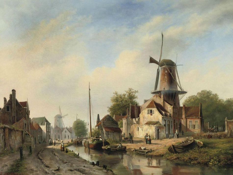 1Marinus van Raden (The Hague 1832-1879). Figures strolling along the town canal. 1853. Oil on canvas. 74 x 98.5 cm