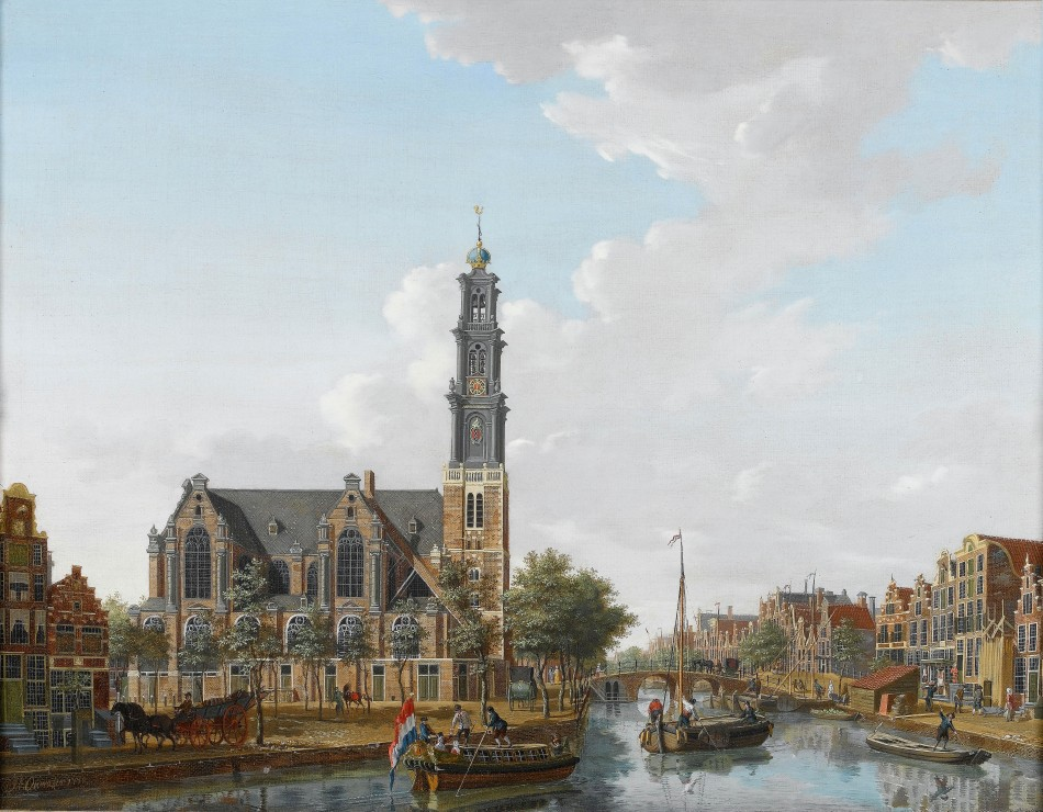 A_view_of_the_Westerkerk_seen_from_the_Prinsengracht,_Amsterdam_-_Isaac_Ouwater_(1778)