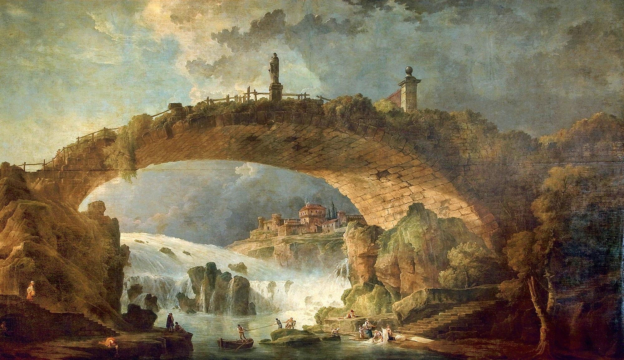 Hubert Robert – private collection. Le pont sur le torrent (mid ...