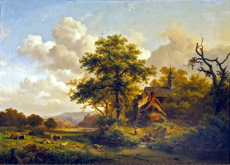 Frederik_Marinus_Kruseman_-_Een_rustige_landschap_met_vrouwen_wassen_door_een_beekje_en_runderen_en_schapen_rusten