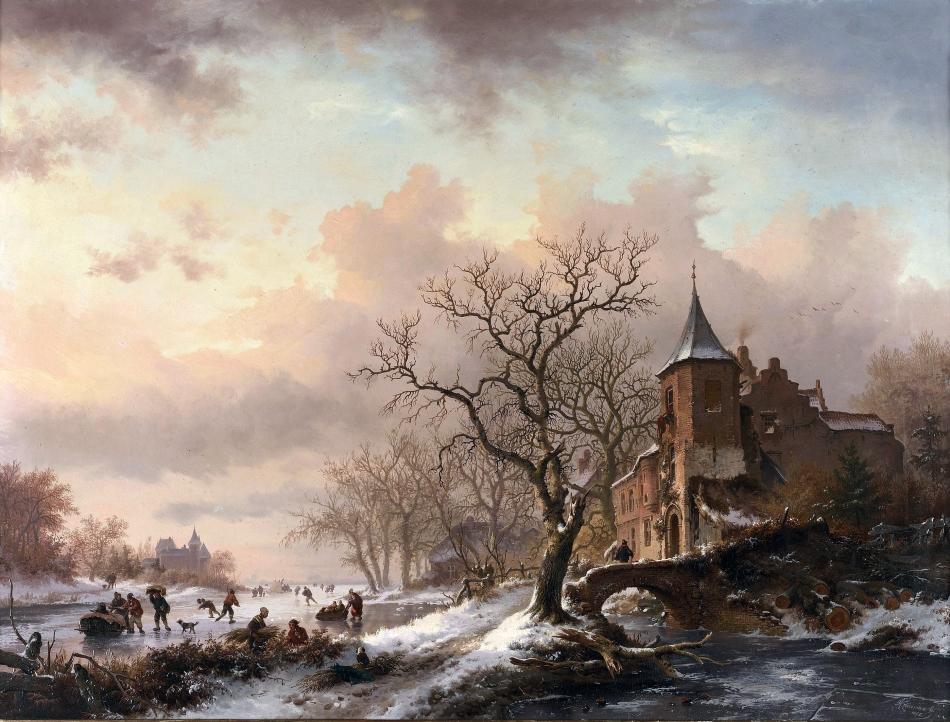 Frederik_Marinus_Kruseman_-_Kasteel_in_een_winterlandschap_en_schaatsers_op_een_bevroren_rivier