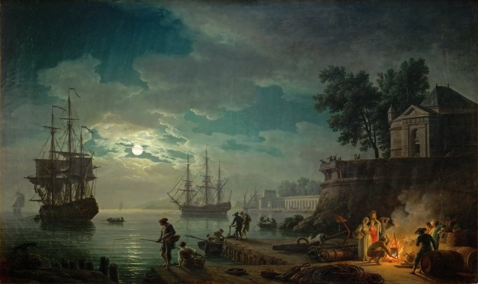 Vernet,_Claude_Joseph_-_Seaport_by_Moonlight_-_1771