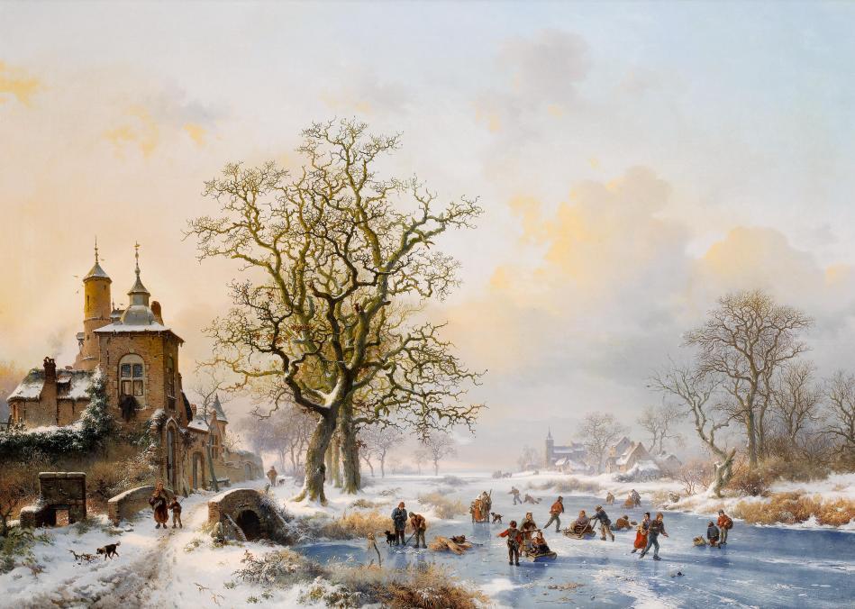Frederik_Marinus_Kruseman_-_Winterlandschap_met_schaatsers_bij_een_kasteel
