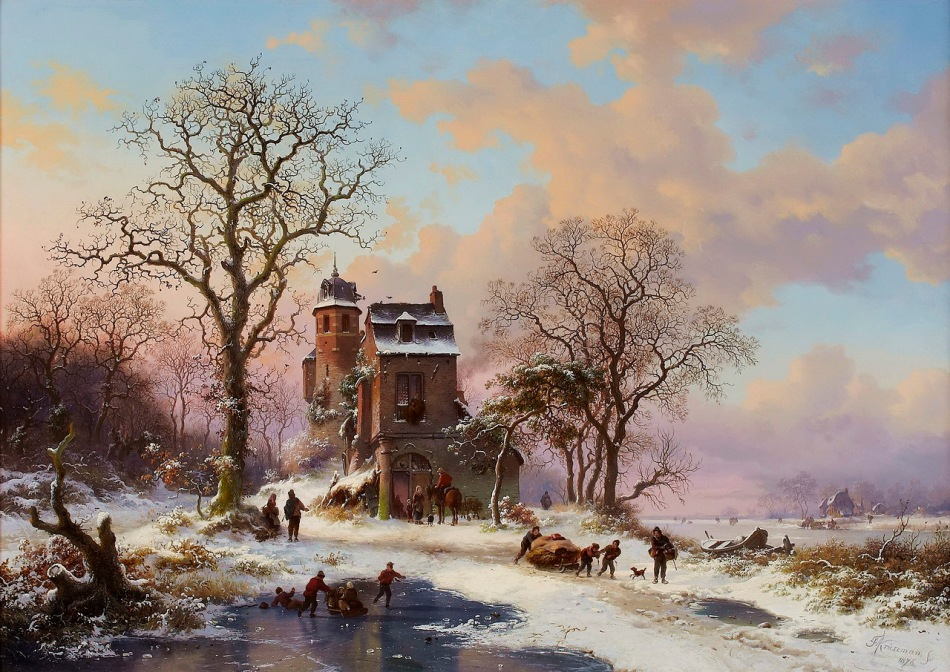 Frederik Marinus Kruseman – private collection. Title: A Dutch Winter Landscape. Date: 1876. Materials: oil on canvas. Dimensions: 50 x 70 cm. Source: http://img-fotki.yandex.ru/get/6722/132639772.12a/0_cec52_4014e28f_XXXL.jpg.