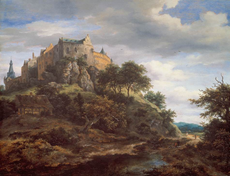 Jacob van Ruisdael – Mauritshuis 1151. Title: View of Bentheim Castle. Date: c. 1652-1654. Materials: oil on panel. Dimensions: 51.9 x 67.7 cm. Nr.: 1151. Source: https://www.mauritshuis.nl/en/support/organisational-sponsorship/bankgiro-lottery/view-of-bentheim-castle-1151/#