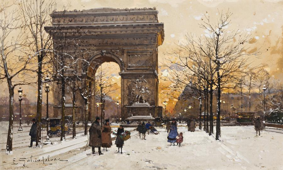 Eugène Galien-Laloue – private collection. Title: L'Arc de Triomphe. Date: c. 1900-1920? Materials: watercolour, pen and ink and gouache on paper. Dimensions: 18.5 x 30.5 cm. Inscriptions: E Galien-Laloue. Sold by Deutscher and Hackett, in Melbourne, on April 24, 2013. Source: http://www.deutscherandhackett.com/sites/all/themes/dh/images/artworks/large/130661.jpg