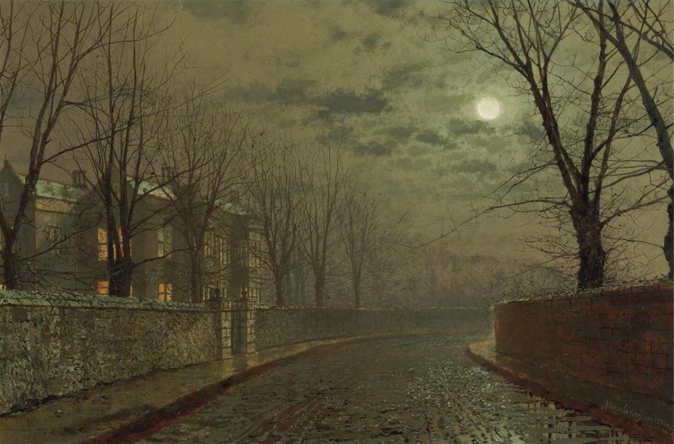 John Atkinson Grimshaw – private collection. Title: Silvery Moonlight. Date: 1882. Materials: oil on canvas. Dimensions: 40.7 x 61 cm. Inscriptions: Atkinson Grimshaw 1882+ (lower right); further signed, inscribed and dated Silvery moonlight/Atkinson Grimshaw/1882 (on the reverse). Sold by Christie's in London, on September 26, 2007. Source: https://s-http://userdisk.webry.biglobe.ne.jp/003/157/31/N000/000/003/142253067271091406180_6CA589A0-B1C1-415C-884E-1CF6AD9E9BBD.JPG.