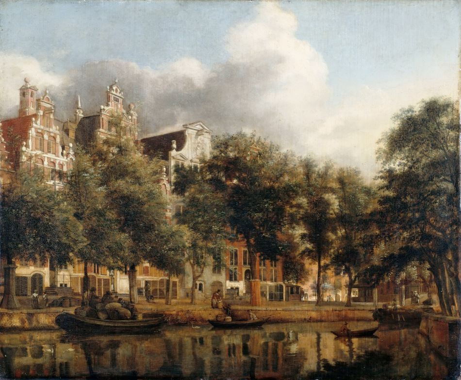 Jan van der Heyden – Musée du Louvre R.F. 2340. Title: View of the Herengracht, Amsterdam. Date: c. 1668-1674. Materials: oil on panel. Dimensions: 36 x 44 cm. Source: https://www.flickr.com/photos/gandalfsgallery/17482129255/.