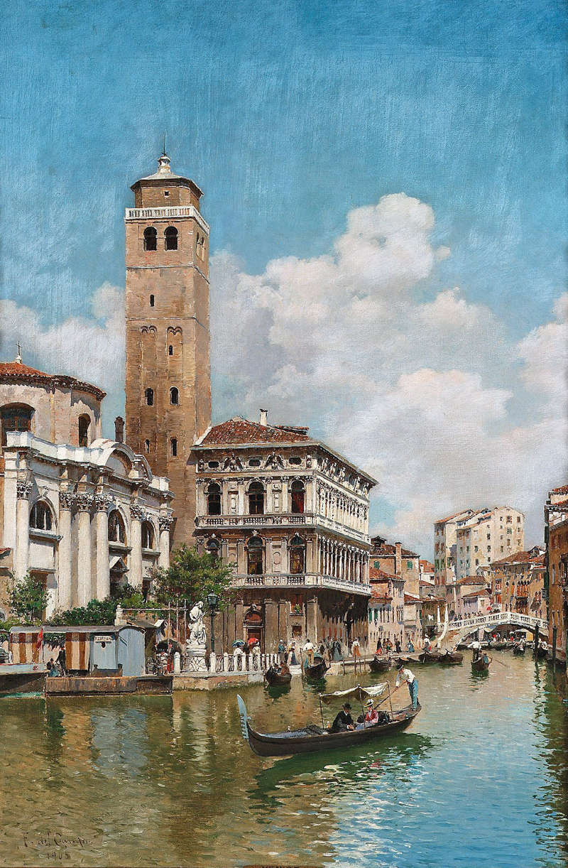 Federico del Campo – private collection. Title: Gondolas on a Venetian Canal. Date: 1905. Materials: oil on canvas. Dimensions: 58.5 x 40 cm. Source: http://www.artscroll.ru/Images/2008/f/Federico%20del%20Campo/000010.jpg.