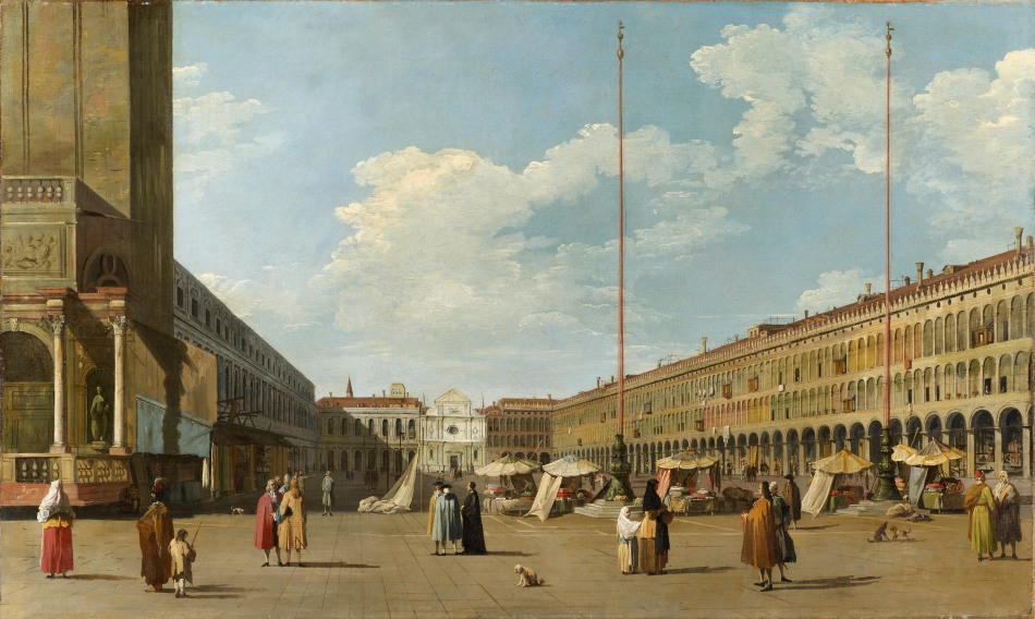 Canaletto (and his studio) – private collection. Title: St. Mark's Square. Date: early 1730s. Materials: oil on  canvas. Dimensions: 69.5 x 115.5 cm. Source: http://www.robilantvoena.com/inventory/view?item=401.