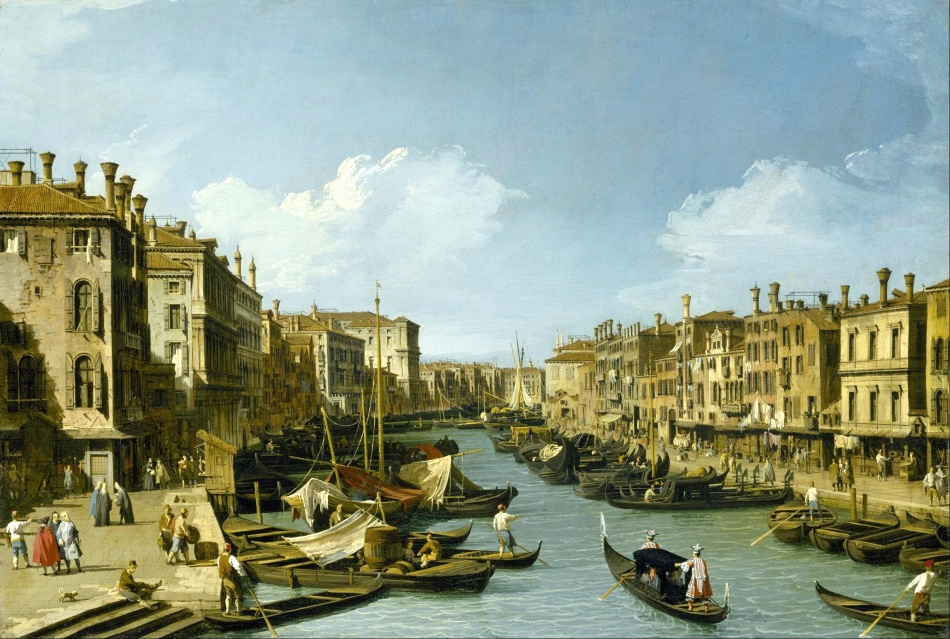 Canaletto – The Museum of Fine Arts (Houston). Title: The Grand Canal near the Rialto Bridge, Venice. Date: c. 1730. Materials: oil on panel. Dimensions: 73 x 49.7 cm. Nr.: ? Source: http://commons.wikimedia.org/wiki/File:Canaletto_-_The_Grand_Canal_near_the_Rialto_Bridge,_Venice_-_Google_Art_Project.jpg. I have changed the contrast of the original photo.
