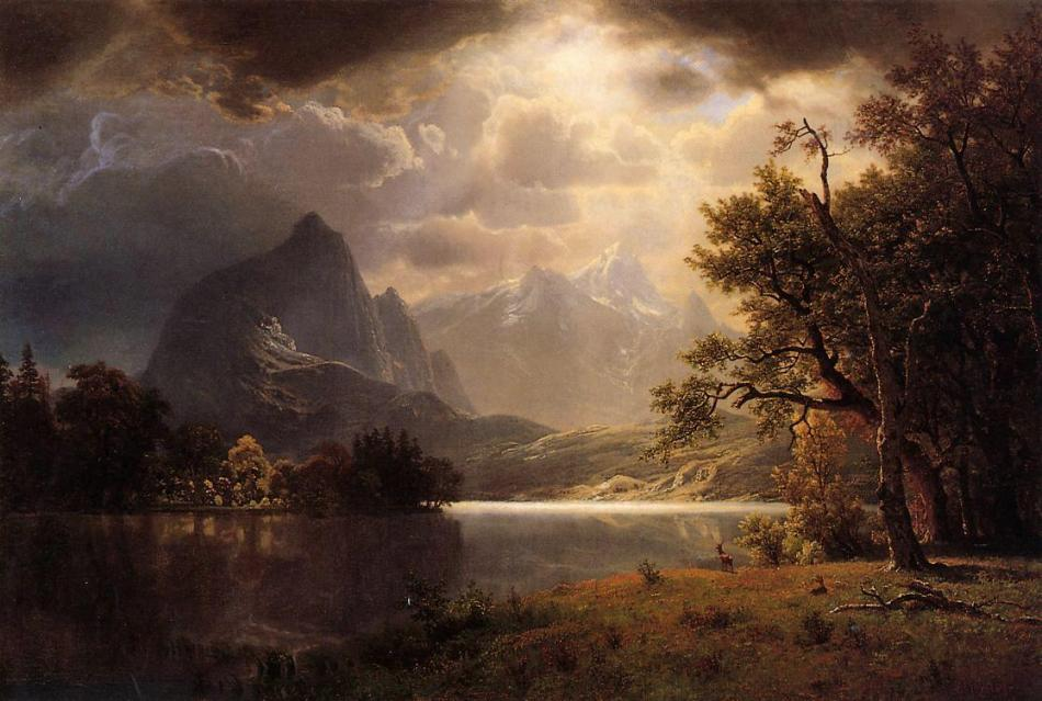 Albert Bierstadt – private collection. Title: Estes Park, Colorado. Date: 1869. Materials: oil on cavas. Dimensions: ? Source: http://www.wikiart.org/en/albert-bierstadt/estes-park-colorado-1869. I have changed the colors of the original photo.