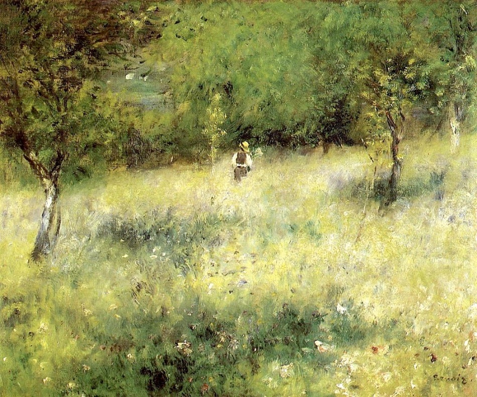 Pierre Auguste Renoir – private collection. Title: Spring at Chatou. Date: c. 1872-1875. Materials: oil on canvas. Dimensions: 59 x 74 cm. Source: https://s-media-cache-ak0.pinimg.com/originals/f6/d3/0a/f6d30a87cc9402691578aa076c9725a5.jpg.