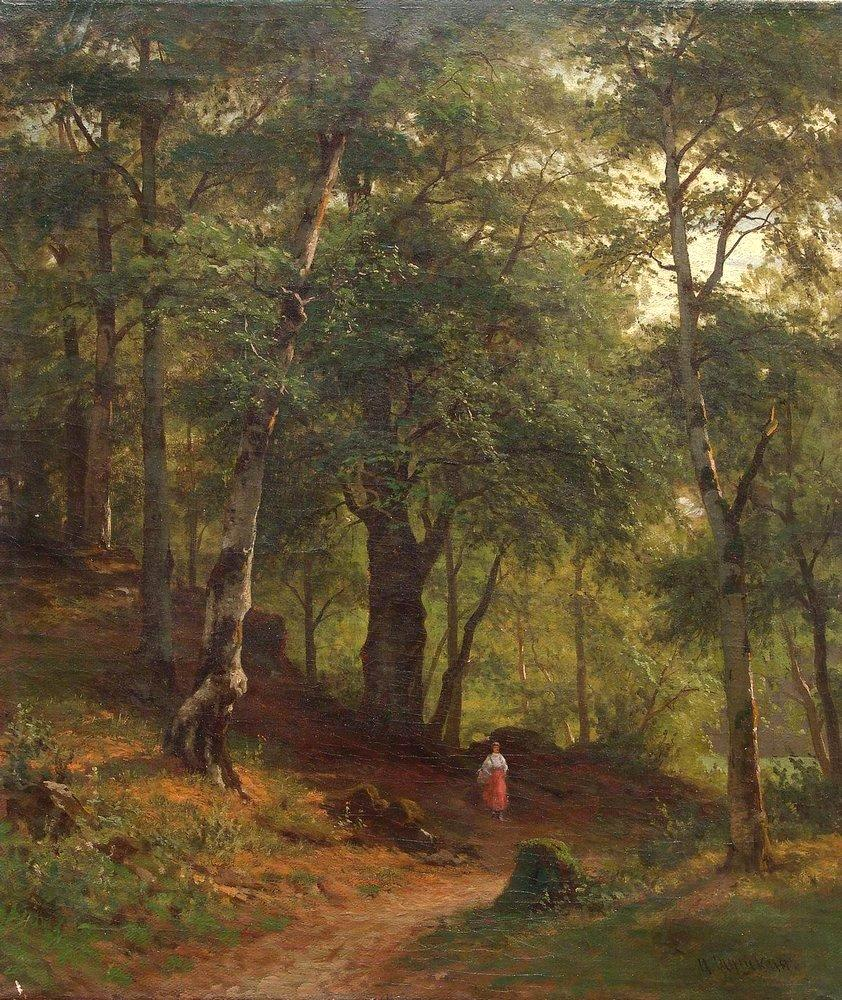 Ivan Shiskin – private collection? Title: По грибы/Gathering Mushrooms. Date: c. 1860s-1870s. Materials: oil on canvas. Dimensions: ? Source: http://www.wikiart.org/en/ivan-shishkin/gathering-mushrooms. I have changed the contrast of the original photo.