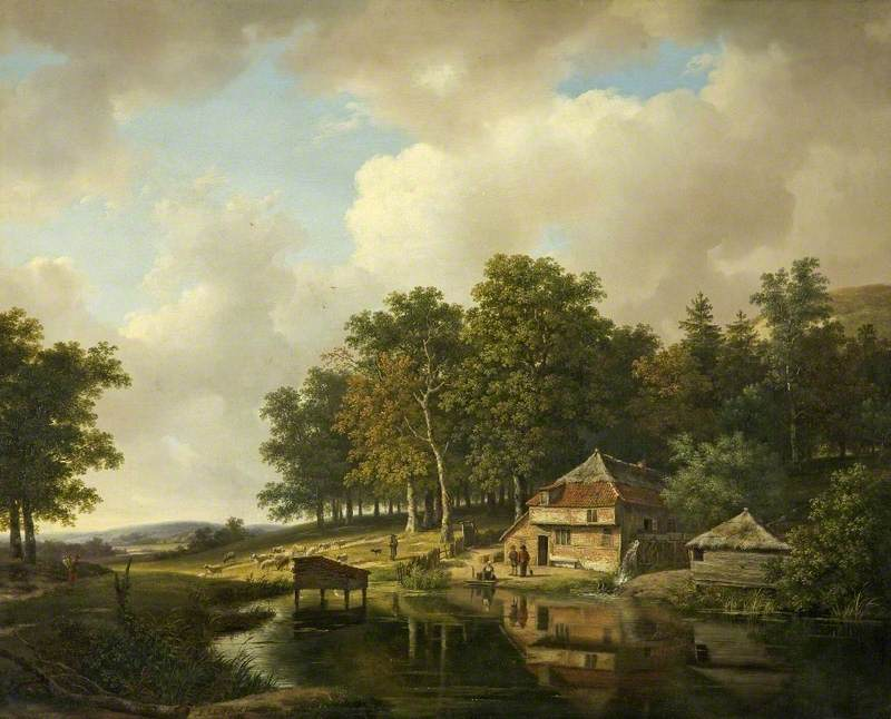 Andreas Schelfhout – Cheltenham Art Gallery & Museum. Title: Landscape with a Mill and a Water Wheel. Date: 1833. Materials: oil on panel. Dimensions: 60.4 x 75.5 cm. Source: http://www.bbc.co.uk/arts/yourpaintings/paintings/landscape-with-a-mill-and-a-water-wheel-62015. I have changed the contrast and colors of the original photo.