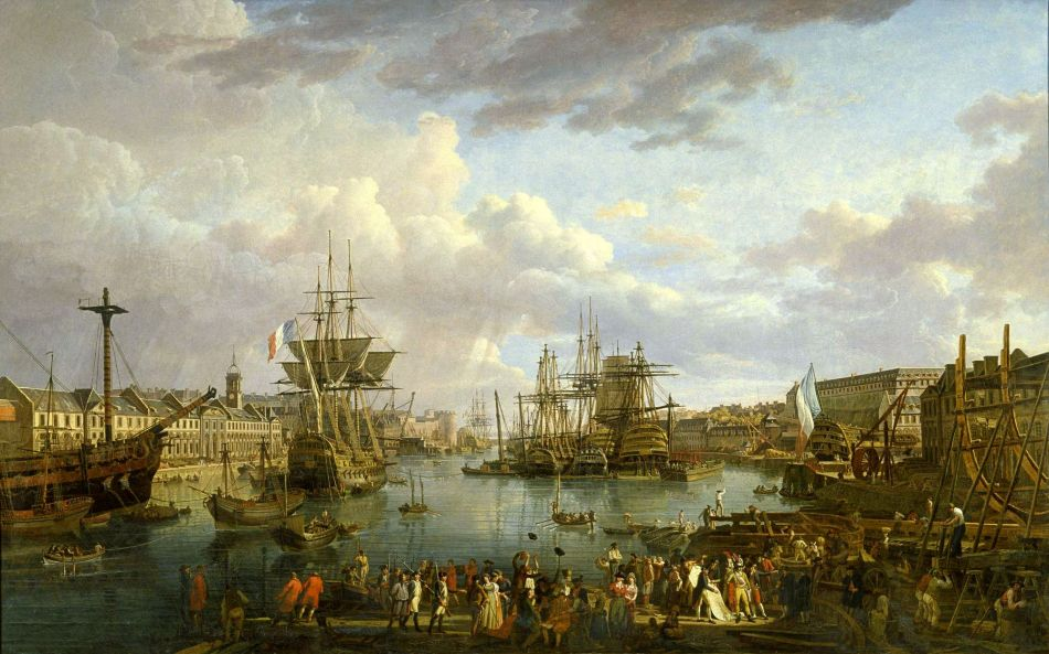 Jean-François Hue – Musée national de la Marine INV. 5396. Title: Vue de l'intérieur du Port de Brest. Date: 1795. Materials: oil on canvas. Dimensions: 162 x 260.5 cm. Nr.: INV. 5396. Source: http://mnm.webmuseo.com/ws/musee-national-marine/app/file/download/M5026-2006-DE-236-4.jpg?key=c5d5ecz8ag28az9wakcx2uj00huy0b1dk&thumbw=2000&thumbh=1500. I have changed the light, contrast and colors of the original photo.