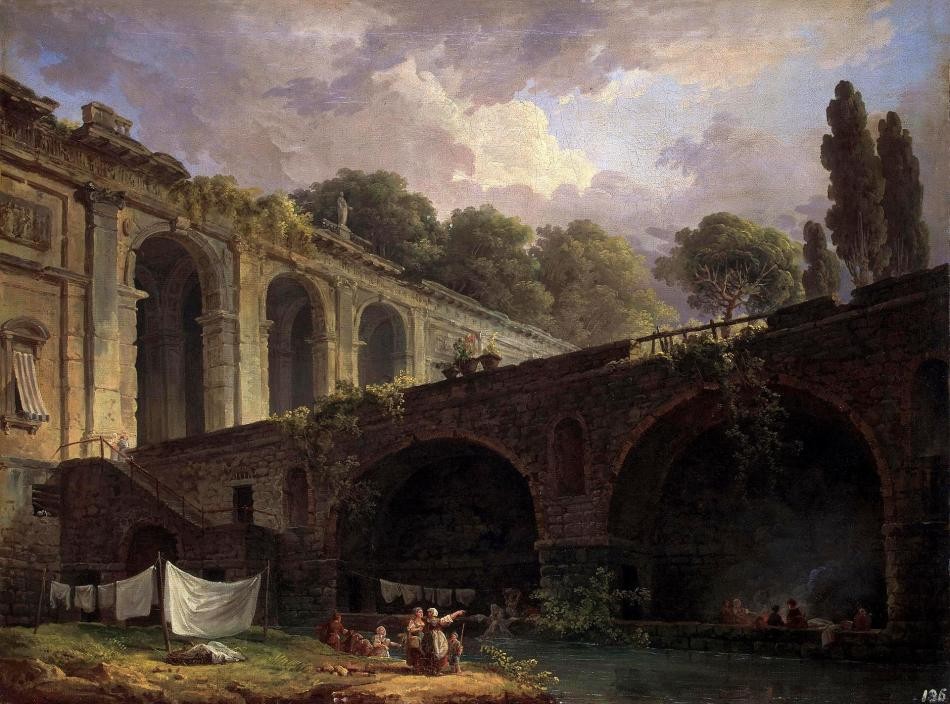 Hubert Robert – The Hermitage Museum ГЭ-7593. Title: Villa Madama near Rome. Date: c. 1767. Materials: oil on  canvas. Dimensions: 53 x 70 cm. Nr.: ГЭ-7593. Source: http://www.hermitagemuseum.org/wps/portal/hermitage/digital-collection/01.+Paintings/38135/?lng=en. I have changed the light of the original photo.