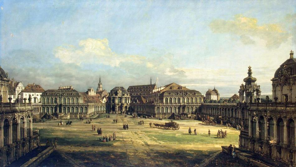 Bernardo Bellotto – The Hermitage Museum ГЭ-205. Title: Zwinger in Dresden. Date: 1752. Materials: oil on  canvas. Dimensions: 131 x 233 cm. Nr.: ГЭ-205. Source: http://www.hermitagemuseum.org/wps/portal/hermitage/digital-collection/01.+Paintings/32287/?lng=. I have changed the light, contrast and colors of the original photo.