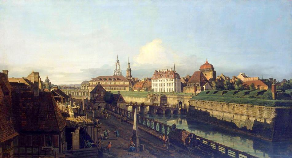 Bernardo Bellotto – The Hermitage Museum ГЭ-207. Title: Old Fortifications of Dresden. Date: 1749-1752. Materials: oil on canvas. Dimensions: 130 x 236.5 cm. Nr.: ГЭ-207. Source: https://www.hermitagemuseum.org/wps/portal/hermitage/digital-collection/01.+Paintings/32289/?lng=en. An almost identical painting in the Gemäldegalerie Alte Meister of Dresden (Gal.-Nr. 611). I have changed the light, contrast and colors of the original photo.