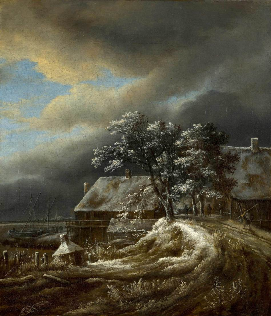 Jacob van Ruisdael – Mauritshuis 802. Title: Winterlandschap. Date: c. 1660-1670. Materials: oil on canvas. Dimensions: 37.3 x 32.5 cm.  Nr. 802. Source: http://www.mauritshuis.nl/nl-nl/verdiep/de-collectie/kunstwerken/winterlandschap-802/#. I have changed the light of the original photo.