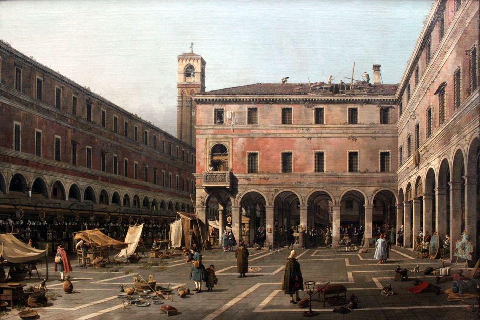 Canaletto – Gemäldegalerie Berlin. Title: Campo di Rialto. Date: 1758-1763. Materials: oil on canvas. Dimensions: 119 x 186 cm. Nr.: ? Source: https://commons.wikimedia.org/wiki/File:1760_Canaletto_Campo_di_Rialto_anagoria.JPG