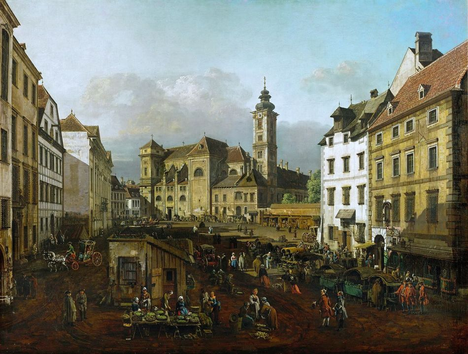 Bernardo Bellotto - Kunsthistorisches Musem GG_1654. Title: Die Freyung in Wien, Ansicht von Südosten. Date: c. 1758-1761. Dimensions: 119 x 153 cm. Acquisition: Seit der Entstehung in kaiserlichem Besitz. Nr.: GG_1654. Source: http://commons.wikimedia.org/wiki/File:Canaletto_(I)_057.jpg