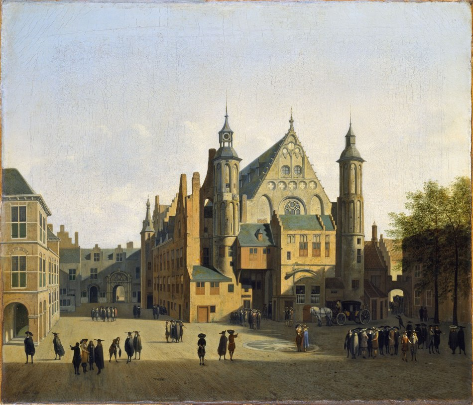 Gerrit Berckheyde – Museo Thyssen – Bornemisza 43 (1955.5). Title: View of the Binnenhof, The Hague. Date: c. 1690. Materials: oil on canvas. Dimensions: 54.5 x 63.5 cm.  Nr. inv. 43 (1955.5). Source: http://www.museothyssen.org/en/thyssen/zoom_obra/799.