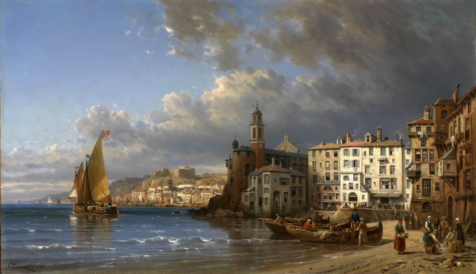 Charles Euphrasie Kuwasseg – Burlington. Title: Vue de Camogli, Italie. Date: last third of the 19th c. Materials: oil on canvas. Dimensions: 52.2 x 98.4 cm.  http://www.burlington.co.uk/zoomgalleryimages/25836.jpg. I have changed the contrast of the original photo.