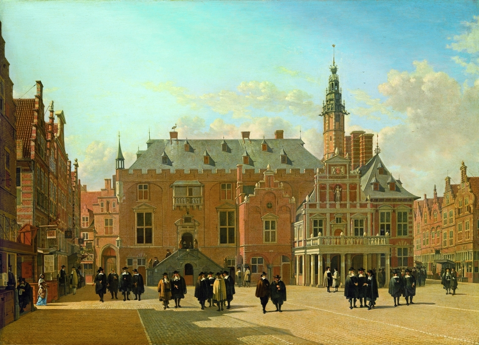 Gerrit Berckheyde – Liechtenstein Princely Collections. Title: View of the Town Hall in the Market Square of Haarlem. Date: 1661. Materials: oil on wood. Dimensions: 61 x 85 cm. Nr.: ? Source: http://www.kunstmuseum.li/bilder/3245.jpg. I have changed the contrast of the original photo.