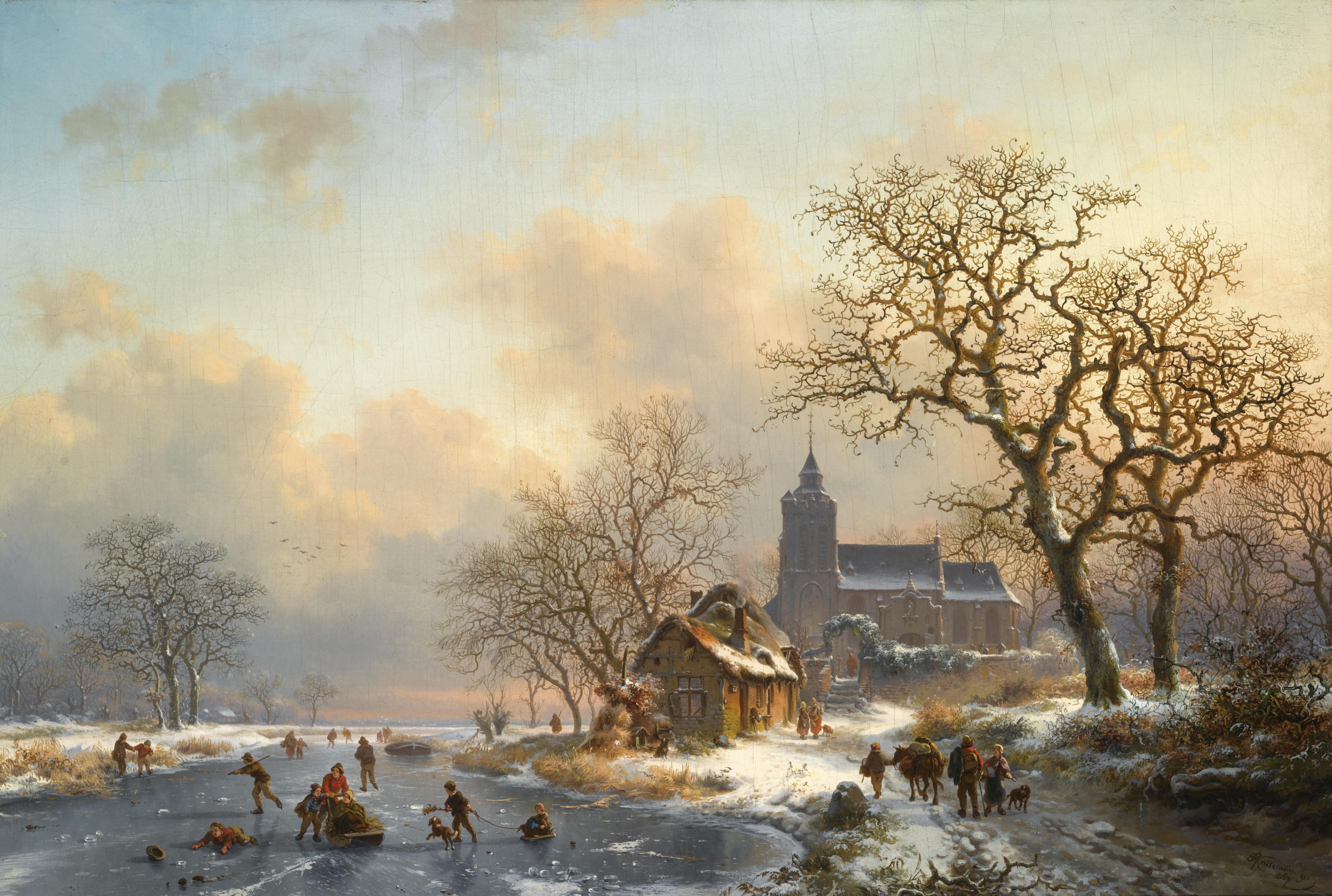 каток речка мельницы зима люди катание  № 1796500 загрузить