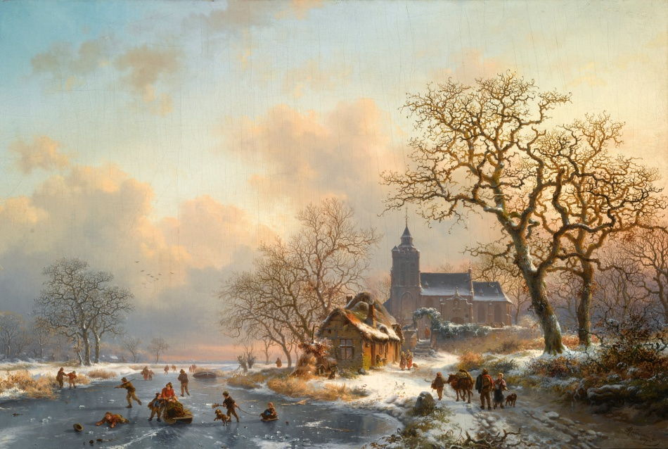 Frederik Marinus Kruseman – private collection. Title: A Winter Landscape with Skaters on a Frozen River. Date: 1867. Materials: oil on canvas. Dimensions: 47 x 68 cm. Inscriptions: F M Kruseman fc 1867 (lower right); Je soussigné déclare avoir peint le tableau ci contre (original et sans reproduction). Bruxelles, novb 1867. FM Kruseman (on a label on the reverse). Sold by Sotheby's in London, on November 22, 2011. Source: http://www.sothebys.com/content/dam/stb/lots/L11/L11104/409L11104_64GHQ.jpg.