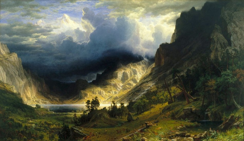 Albert Bierstadt – Brooklyn Museum 76.79. Title: A Storm in the Rocky Mountains, Mt. Rosalie. Date: 1866. Materials: oil on canvas. Dimensions: 210.8 x 361.3 cm. Inscriptions: ABierstadt / N.Y. 1866 (lower right). Source: http://www.brooklynmuseum.org/opencollection/objects/1558/A_Storm_in_the_Rocky_Mountains_Mt._Rosalie/. I have changed the light of the original photo.