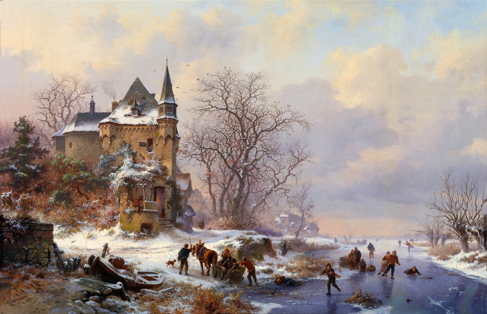 Frederik Marinus Kruseman – private collection. Title: Winterlandschaft mit Eisläufern vor einem Schloss. Date: 1871. Materials: oil on canvas. Dimensions: 46 x 70 cm. Inscriptions: Kruseman 1871. Sold by Dorotheum in Vienna, on October 12, 2010. Source: http://i076.radikal.ru/1011/5a/8627f3d4d056.jpg. I have changed the light, contrast and colors of the original photo.